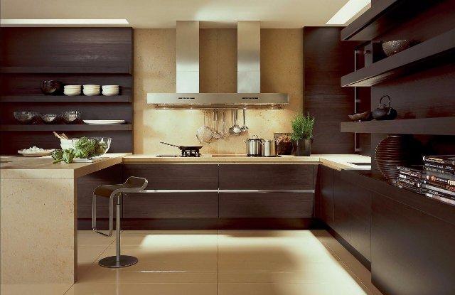 Дизайн кухни кофейного и шоколадного оттенков
