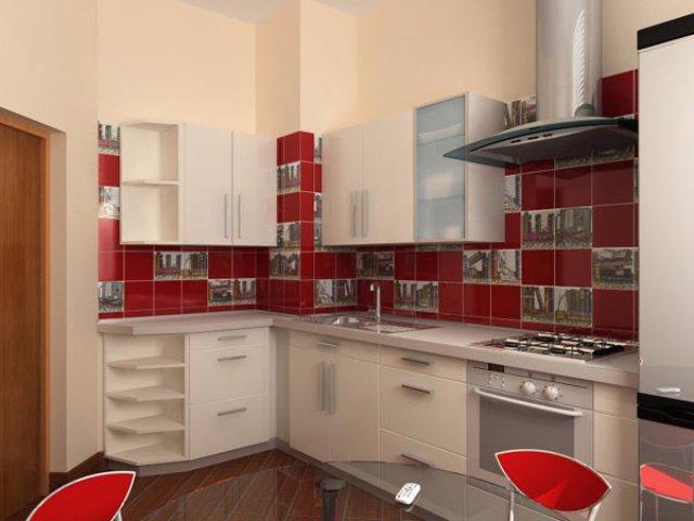 Небольшая светло-красная кухня