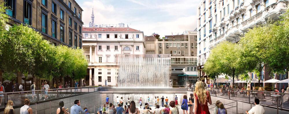 Вход в новый Apple Store в Милане проложат через фонтан