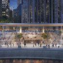 #Видео: Огромный MacBook на крыше нового магазина Apple